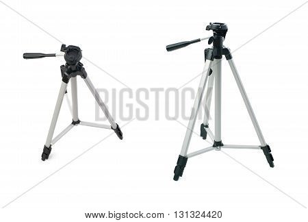 Set of Camera gray tripod over isolated white background