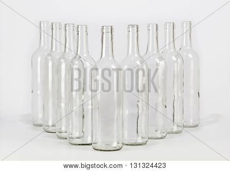 Group of empty glass bottle isolated on white background
