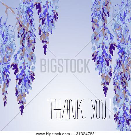 Watercolor floral design of card with Wisteria flowers in chinese style and hand lettering - Thank you. Vector background. Chinese and japanese sumi e design for weddind invitation card thanksgiving