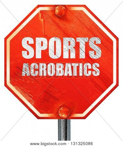 sports acrobatics sign background, 3D rendering, a red stop sign