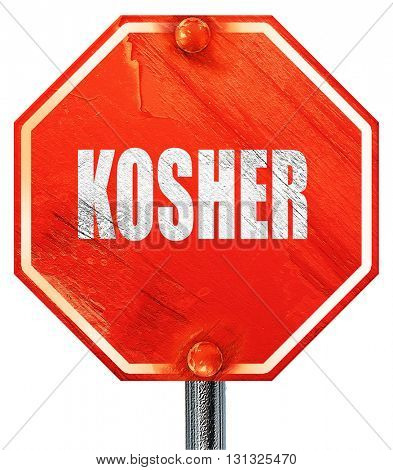Delicious kosher food, 3D rendering, a red stop sign