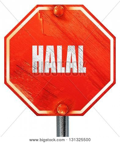 Delicious hala food, 3D rendering, a red stop sign
