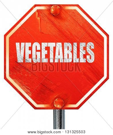 Delicious vegetable sign, 3D rendering, a red stop sign