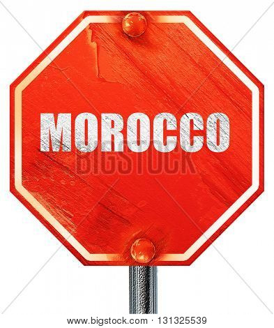 Greetings from morocco, 3D rendering, a red stop sign