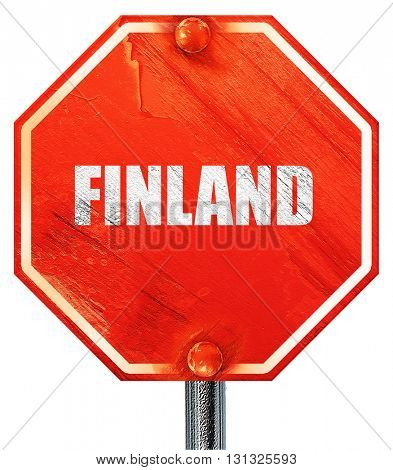 Greetings from finland, 3D rendering, a red stop sign
