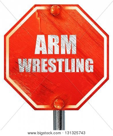 arm wrestling sign background, 3D rendering, a red stop sign