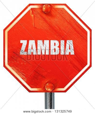 Greetings from zambia, 3D rendering, a red stop sign