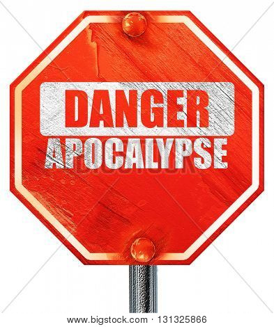 apocalypse danger background, 3D rendering, a red stop sign