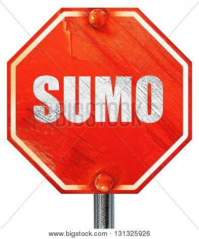 sumo sign background, 3D rendering, a red stop sign