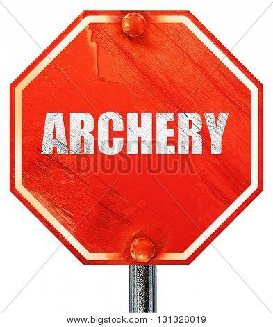 archery sign background, 3D rendering, a red stop sign