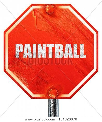 paintball sign background, 3D rendering, a red stop sign