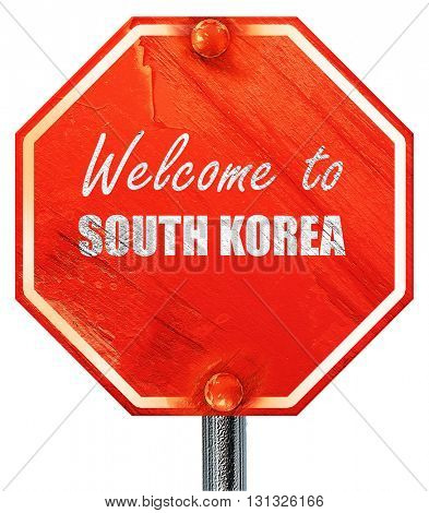 Welcome to south korea, 3D rendering, a red stop sign