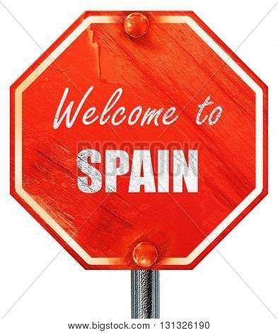Welcome to spain, 3D rendering, a red stop sign