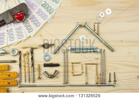 Mortgage to build a house for the family. Real money to build a house. The loan money for housing. Construction of a new house. Plans for the building. Needs for builders.