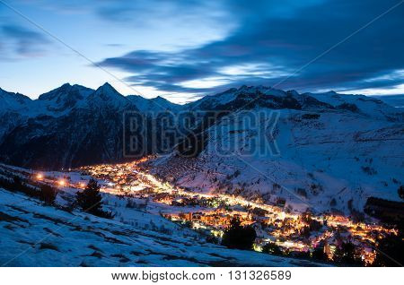 Panoramic view over the French ski resort les deux alpes at Night