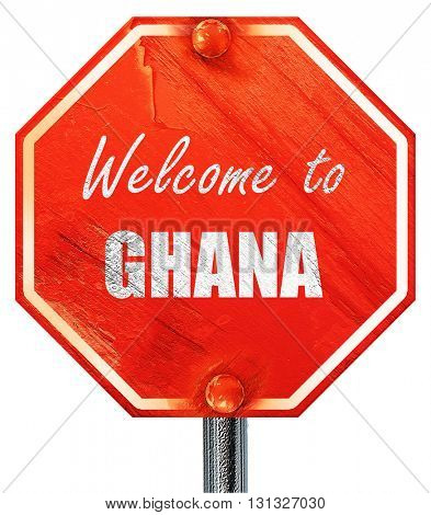 Welcome to ghana, 3D rendering, a red stop sign