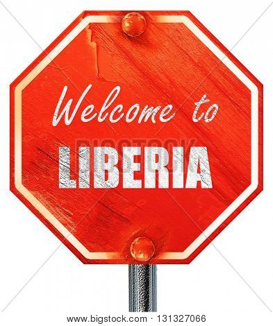 Welcome to liberia, 3D rendering, a red stop sign