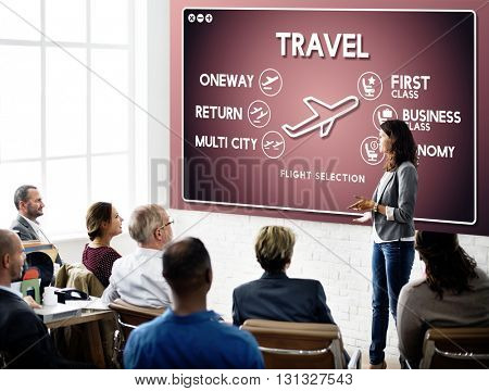 Flight Information Selection Tourism Transport Concept
