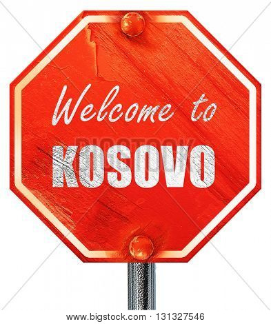Welcome to kosovo, 3D rendering, a red stop sign
