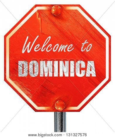Welcome to dominica, 3D rendering, a red stop sign