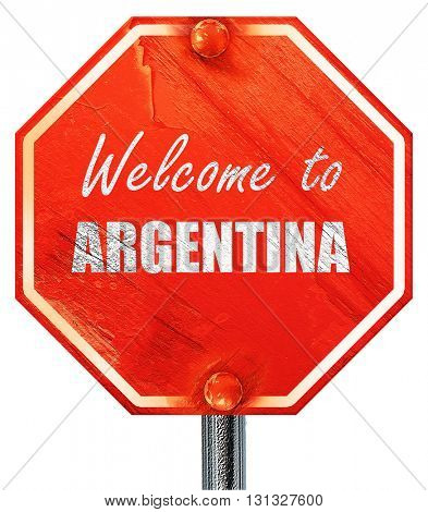 Welcome to argentine, 3D rendering, a red stop sign