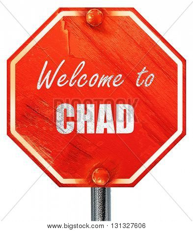 Welcome to chad, 3D rendering, a red stop sign