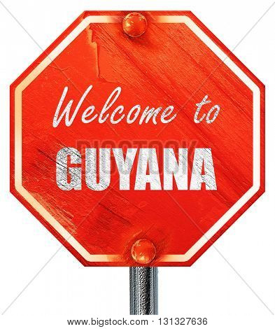 Welcome to guyana, 3D rendering, a red stop sign