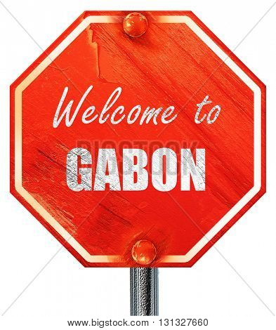 Welcome to gabon, 3D rendering, a red stop sign