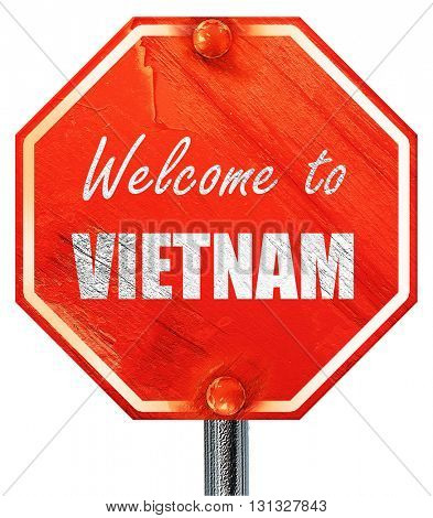 Welcome to vietnam, 3D rendering, a red stop sign