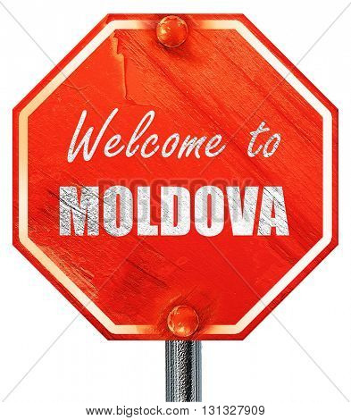 Welcome to moldova, 3D rendering, a red stop sign