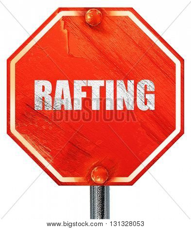 rafting, 3D rendering, a red stop sign