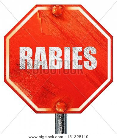 rabies, 3D rendering, a red stop sign
