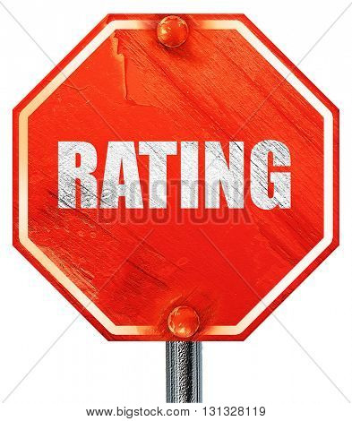 rating, 3D rendering, a red stop sign