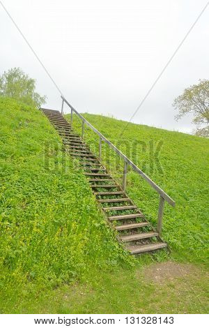 Landscape with old wooden stairs in the fortress of Lappeenranta Finland.