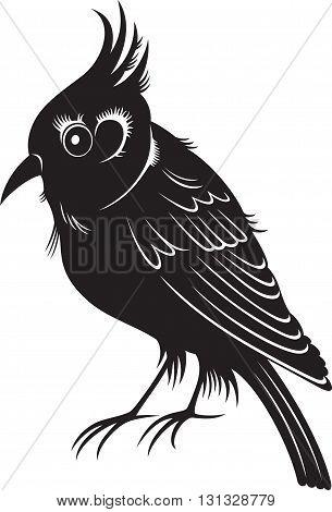 little cartoon bird, black and white illustration