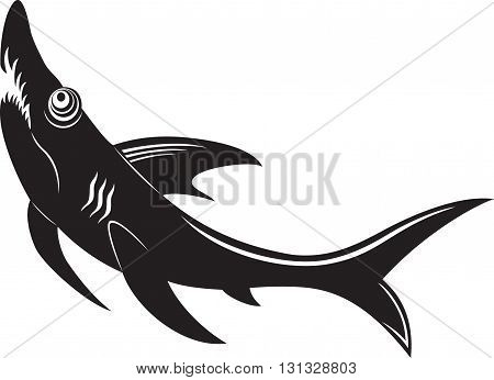 cartoon shark with open maw, black and white illustration