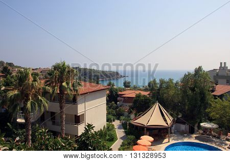 best view on turkish hotel and sea coast and mediterranean sea in tourist season in summer Alanya Turkey