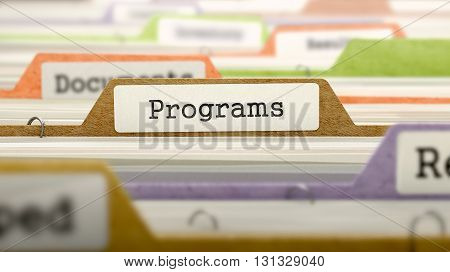 Programs Concept on File Label in Multicolor Card Index. Closeup View. Selective Focus. 3D Render.