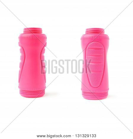 Set of  Water sport plastic pink bottle isolated over the white background