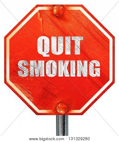 quit smoking, 3D rendering, a red stop sign