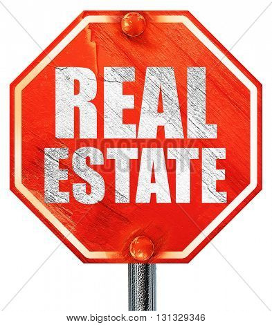 real estate, 3D rendering, a red stop sign
