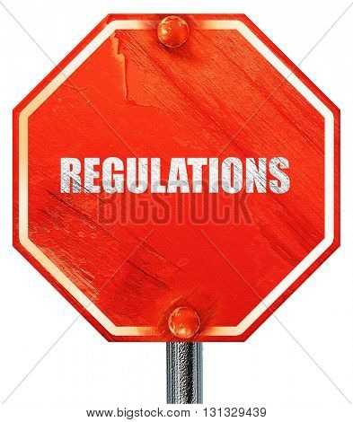regulations, 3D rendering, a red stop sign
