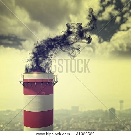 3d image of classic chimney and smoke