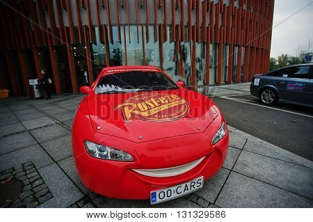 Katowice, Poland - October 24, 2014: Lightning Mcqueen A Larger Version Of The Car, Cartoon Characte