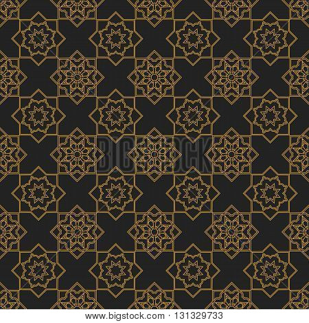 Seamless texture with vintage geometric ornament. Vector lineart pattern.