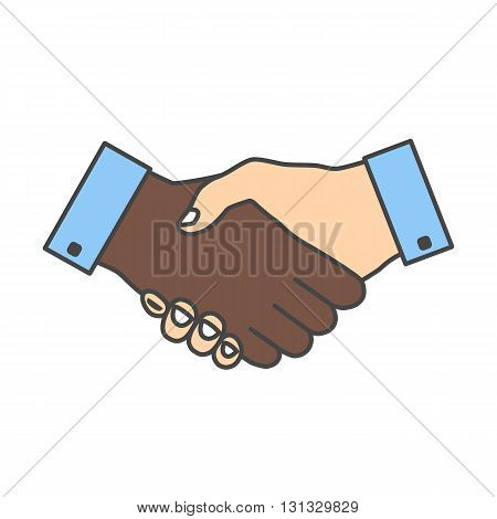 Handshake icon colored with strokes. Hand gesture used as a greeting. In business used for the deal or agreement to become binding. Friendship between races. Hands with different skin colors.