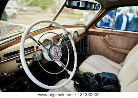 Podol, Ukraine - May 19, 2016: Dashboard And Steering Wheel Of Gaz-12 Zim, Luxury Soviet Limousine.