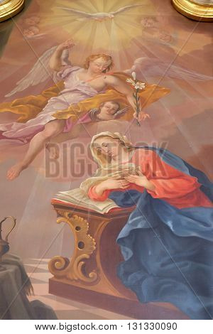ZIEMETSHAUSEN, GERMANY - JUNE 09: Annunciation of Virgin Mary, altarpiece in Maria Vesperbild Church in Ziemetshausen, Germany on June 09, 2015.