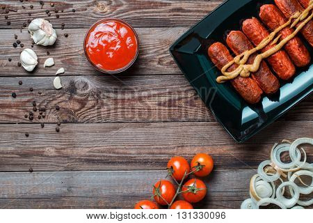 Sausage roasted on the grill.