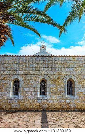 Cosy small church yard on Lake Kinneret, Israel